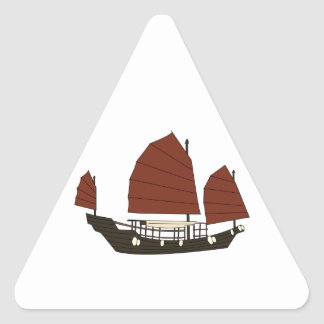Wooden Chinese Junk Ship Triangle Sticker