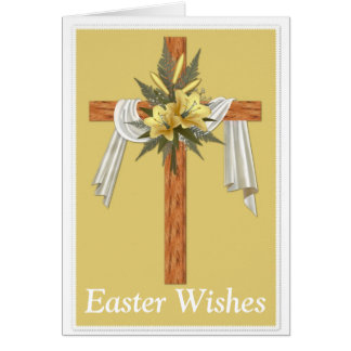 Wooden Christian Cross Easter Holiday Card