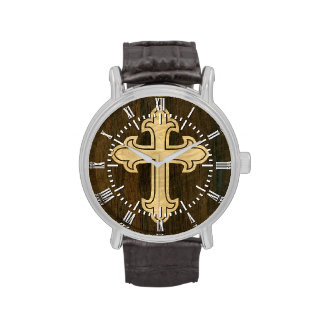 Wooden Christian Cross Fleury Maple on Rosewood Watches