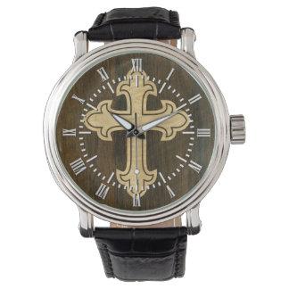 Wooden Christian Cross Fleury Maple on Rosewood Wrist Watch