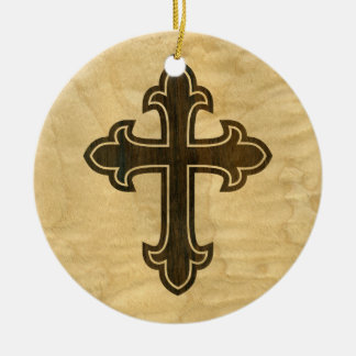 Wooden Christian Cross Fleury Rosewood on Maple Ceramic Ornament