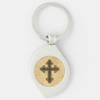 Wooden Christian Cross Fleury Rosewood on Maple Keychain