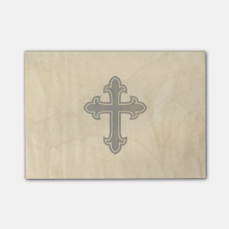 Wooden Christian Cross Fleury Rosewood on Maple Post-it® Notes
