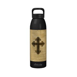 Wooden Christian Cross Fleury Rosewood on Maple Reusable Water Bottles