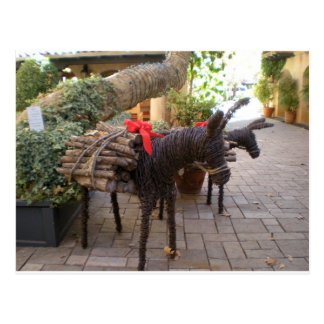 Wooden Christmas Burros Postcard