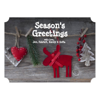 Wooden Christmas Deer And Decoration On Wood Card