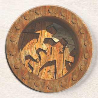 wooden clockwork drink coaster