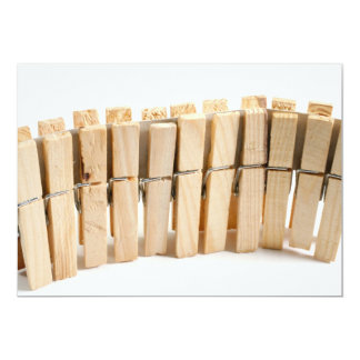 """Wooden clothes pegs 5"""" x 7"""" invitation card"""