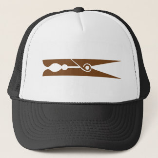 wooden 	clothespin icon trucker hat