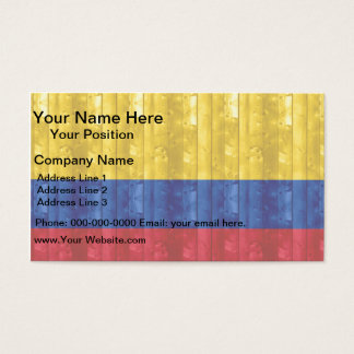 Wooden Colombian Flag Business Card