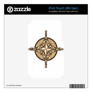 Wooden Compass vector Decal For iPod Touch 4G