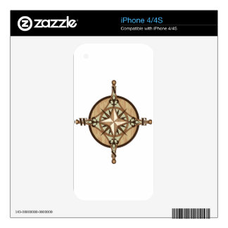Wooden Compass vector Skins For iPhone 4S