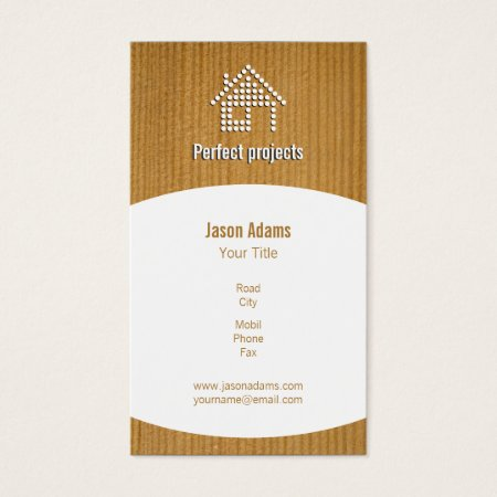 Modern Stylish Faux Wood and White Dotted Home Icon Construction Business Cards Template