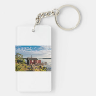 Wooden cottage on the Baltic Sea coast in Sweden Double-Sided Rectangular Acrylic Keychain