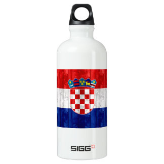 Wooden Croatian Flag Water Bottle