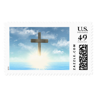 Wooden Cross above the water Postage