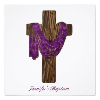Wooden Cross Baptism Invitation