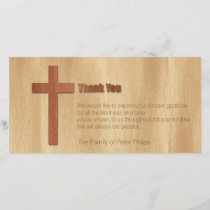 Wooden Cross Christian Sympathy Thank You H card