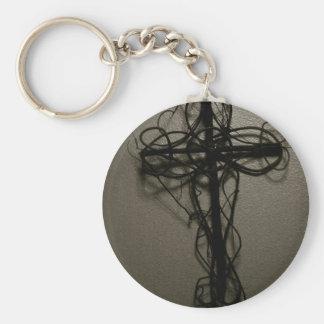 Wooden Cross Keychain