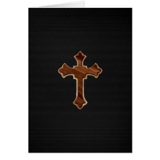 Wooden Cross on Dark Fabric Image Print Card