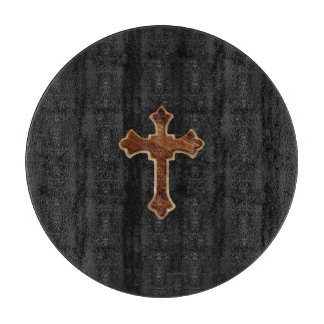 Wooden Cross on Dark Fabric Image Print Cutting Boards