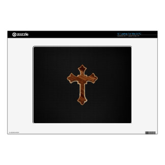 Wooden Cross on Dark Fabric Image Print Decal For Laptop