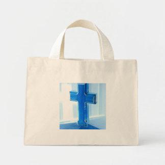 Wooden Cross photograph, blue tint, church Canvas Bags