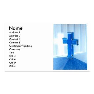 Wooden Cross photograph, blue tint, church Business Card