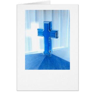 Wooden Cross photograph, blue tint, church Greeting Card