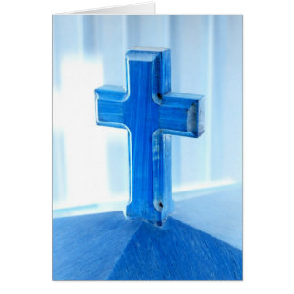 Wooden Cross photograph, blue tint, church Stationery Note Card