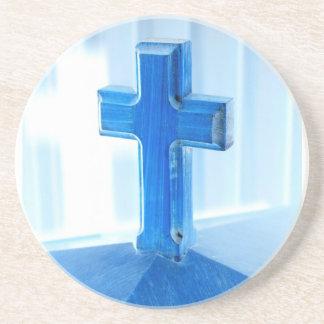 Wooden Cross photograph, blue tint, church Beverage Coaster
