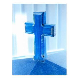 Wooden Cross photograph, blue tint, church Postcard