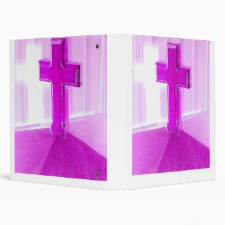 Wooden cross, purple version, photograph church 3 ring binders