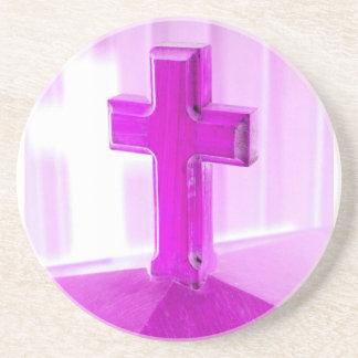 Wooden cross, purple version, photograph church coaster