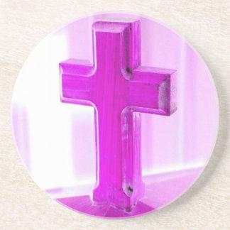 Wooden cross, purple version, photograph church drink coaster