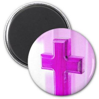 Wooden cross, purple version, photograph church refrigerator magnets