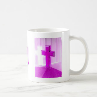 Wooden cross, purple version, photograph church coffee mug