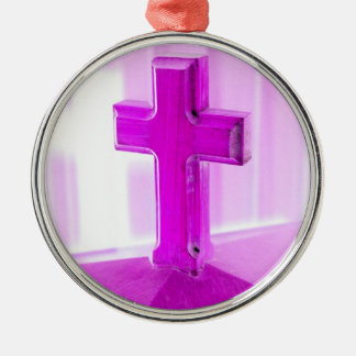 Wooden cross, purple version, photograph church ornaments