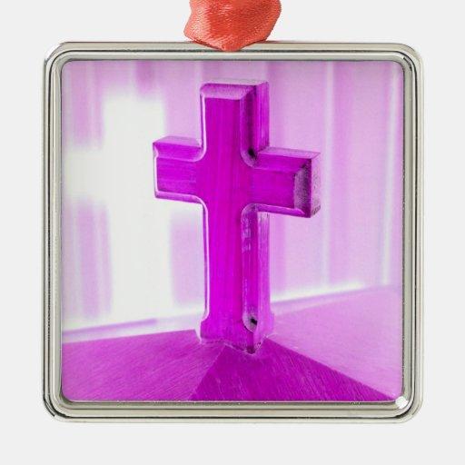 Wooden cross, purple version, photograph church square metal christmas ornament