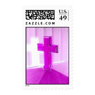 Wooden cross, purple version, photograph church stamps