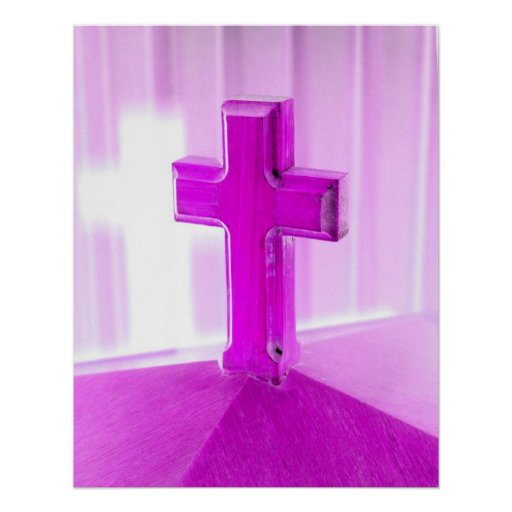 Wooden cross, purple version, photograph church poster