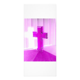 Wooden cross, purple version, photograph church rack card