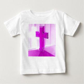 Wooden cross, purple version, photograph church shirt