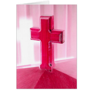 Wooden cross, red version photograph church greeting cards