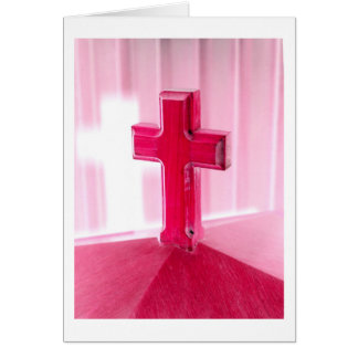 Wooden cross, red version photograph church greeting card