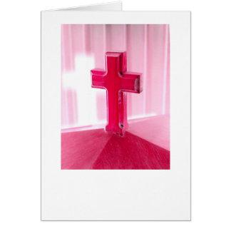 Wooden cross, red version photograph church card