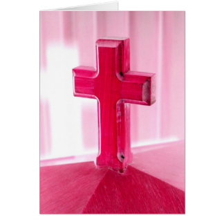 Wooden cross, red version photograph church cards