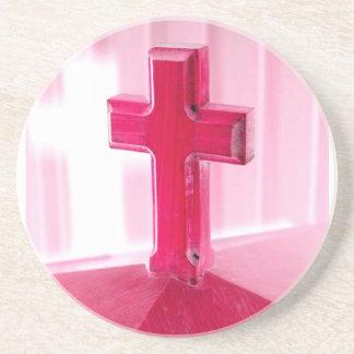 Wooden cross, red version photograph church coaster