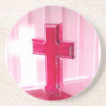 Wooden cross, red version photograph church drink coaster