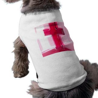Wooden cross, red version photograph church dog t-shirt
